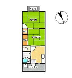 サンシティームサシノ[2階]の間取り