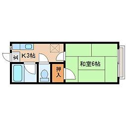 静岡県静岡市清水区船越東町の賃貸アパートの間取り