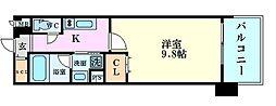 Osaka Metro谷町線 南森町駅 徒歩7分の賃貸マンション 7階1Kの間取り