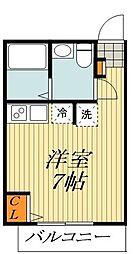 JR総武線 平井駅 徒歩6分の賃貸アパート 2階ワンルームの間取り