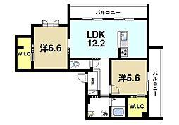 奈良県奈良市押熊町の賃貸マンションの間取り