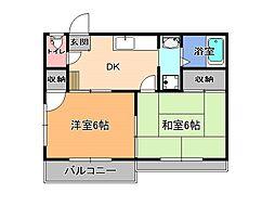 栃木県宇都宮市緑1丁目の賃貸アパートの間取り