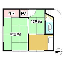 石川荘[201号室]の間取り