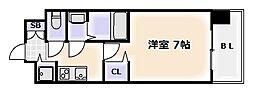 Osaka Metro御堂筋線 大国町駅 徒歩5分の賃貸マンション 6階1Kの間取り