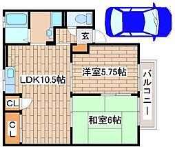 兵庫県神戸市垂水区清玄町の賃貸アパートの間取り