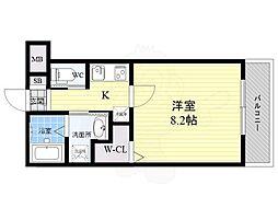 ワコーレヴィータ江坂WEST 3階1Kの間取り