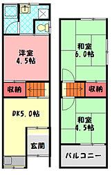 京阪本線 守口市駅 徒歩14分の賃貸テラスハウス 1階3DKの間取り