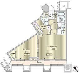 モメント汐留(MOMENTO SHIODOME) 20階1LDKの間取り