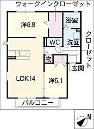 ファミール A棟[1階]の間取り
