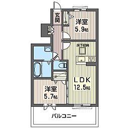 ハピネスII[1階]の間取り