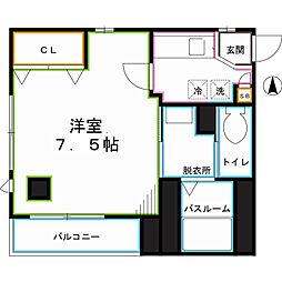 JR中央本線 東小金井駅 徒歩7分の賃貸マンション 2階1Kの間取り