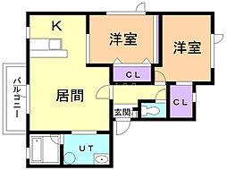 コーポWAKO白鳥 2階2LDKの間取り