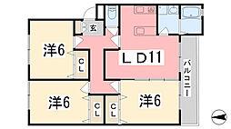 リノスタイル姫路北条[304号室]の間取り