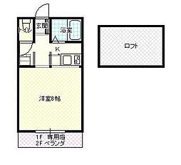 JR山形新幹線 山形駅 バス20分 飯田アパート前下車 徒歩3分の賃貸アパート 2階1Kの間取り