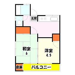 第二横山荘[102号室]の間取り