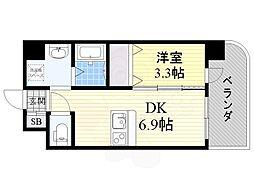 阪急宝塚本線 服部天神駅 徒歩11分の賃貸マンション 10階1DKの間取り