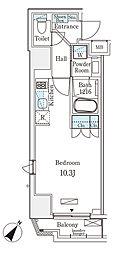 都営新宿線 岩本町駅 徒歩6分の賃貸マンション 9階ワンルームの間取り