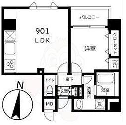都営大江戸線 両国駅 徒歩10分の賃貸マンション 9階1LDKの間取り