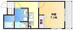 岡山電気軌道清輝橋線 東中央町駅 徒歩3分の賃貸マンション 5階1Kの間取り