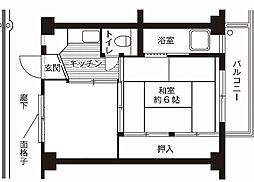 神奈川県相模原市中央区下九沢の賃貸アパートの間取り