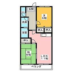 愛知県尾張旭市庄南町3丁目の賃貸マンションの間取り