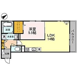 南海線 北助松駅 徒歩8分の賃貸アパート 2階ワンルームの間取り