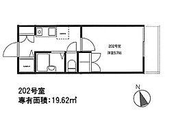 東京都北区田端2丁目の賃貸アパートの間取り