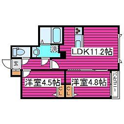 メニーズコート新道東[1階]の間取り
