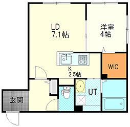 JR函館本線 厚別駅 徒歩1分の賃貸マンション 1階1LDKの間取り