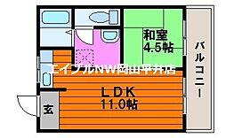 JR山陽本線 瀬戸駅 徒歩36分の賃貸マンション 3階1LDKの間取り