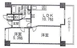 ロワールマンションアール板付弐番館[3階]の間取り