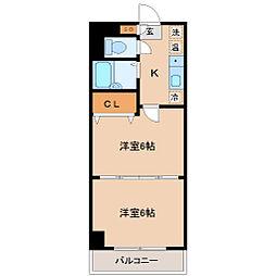 ロイヤルアネックス連坊[6階]の間取り