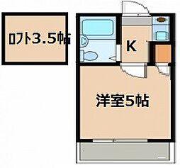 愛知県名古屋市天白区海老山町の賃貸アパートの間取り