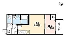 京阪本線 森小路駅 徒歩2分の賃貸アパート 3階1LDKの間取り