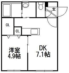クーデクール北円山[3階]の間取り