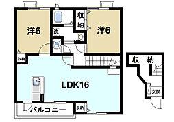 奈良県奈良市二名3丁目の賃貸アパートの間取り
