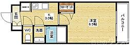 プレサンス新大阪イオリア 5階1Kの間取り