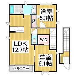 ディアコートF B[2階]の間取り