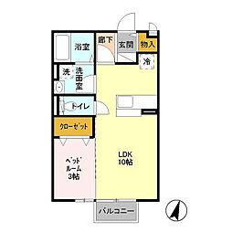 茨城県つくば市天久保2丁目の賃貸アパートの間取り