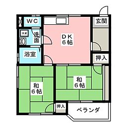 コーポ中道東[1階]の間取り