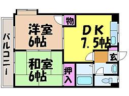 愛媛県松山市空港通2丁目の賃貸マンションの間取り
