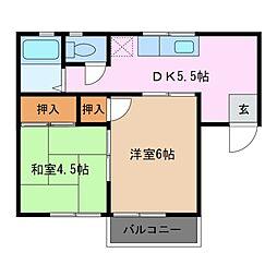 サンハイツ上野[2階]の間取り