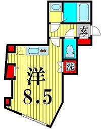 ラ・フォート五反野 1階ワンルームの間取り