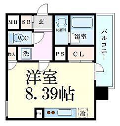 Osaka Metro堺筋線 南森町駅 徒歩2分の賃貸マンション 10階1Kの間取り