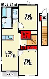 福岡県北九州市小倉南区上石田3丁目の賃貸アパートの間取り