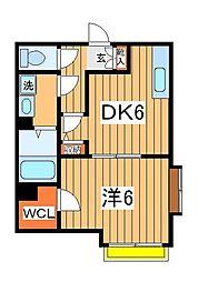 千葉県流山市江戸川台西2の賃貸アパートの間取り