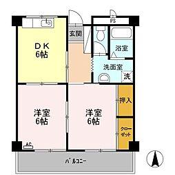 静岡県磐田市上本郷の賃貸アパートの間取り
