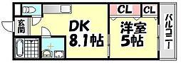 大阪府堺市西区鳳中町8丁の賃貸アパートの間取り