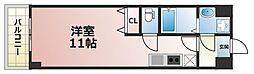 パーラム高殿 5階ワンルームの間取り