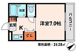 メゾンドゥ田中 3階1Kの間取り